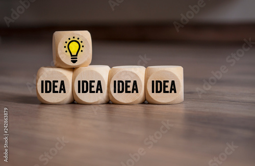 Cubes and dive with light bulb and idea