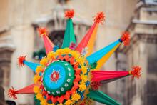 "Celebration Of  Orthodox Christmas In Lviv. Festival ""The Flash Of Christmas Star"". Parade Of Christmas Stars. Closeup Of Star"