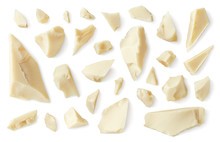 White Broken Chocolate Pieces Isolated On White Background