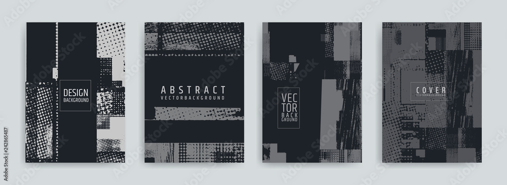 Fototapeta Set of abstract background cover designs. Screen error effect. Failure. Vector graphics. Abstract background strokes. Halftone effect