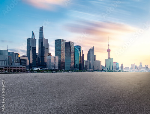 shanghai skyline in sunset Canvas Print