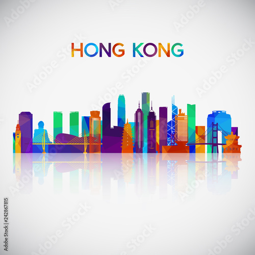 Hong Kong skyline silhouette in colorful geometric style Canvas Print