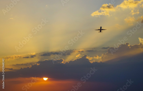 Fototapeta Beautiful sunset on the civil airport obraz na płótnie