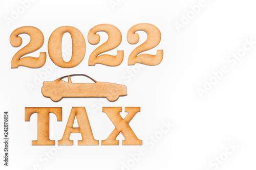 Fotografering  Tax car 2022 - Concept. Top view