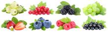 Sammlung Beeren Erdbeeren Blaubeeren Weintrauben Trauben Rote Johannisbeeren Früchte Isoliert Freisteller Freigestellt