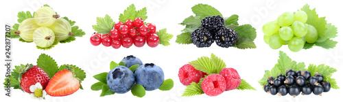 Sammlung Beeren Erdbeeren Blaubeeren Weintrauben Trauben rote Johannisbeeren Frü Canvas Print
