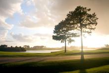 South Carolina Nature Background.  Southern Landscape With Sunset Over The Golf Court. South Carolina, Myrtle Beach Area, USA.