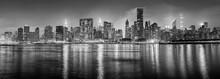 Black And White New York City Panorama At Night, USA.