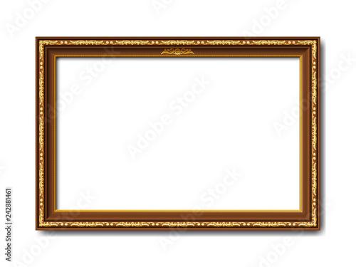 Obraz na plátně Goldener brauner Vektor holz Bilderrahmen mit Reliefapplikationen isoliert auf w