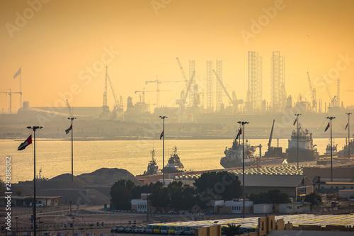 Dubai port view at sunset Wallpaper Mural