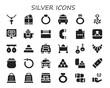 silver icon set