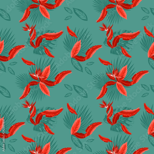 seamless-pattern-of-tropical-blue-palm-leaves-monstera-leaves-and-coral-flowers-of-the-bird-of-paradise-strelitzia-plumeria-wallpaper-trend-design
