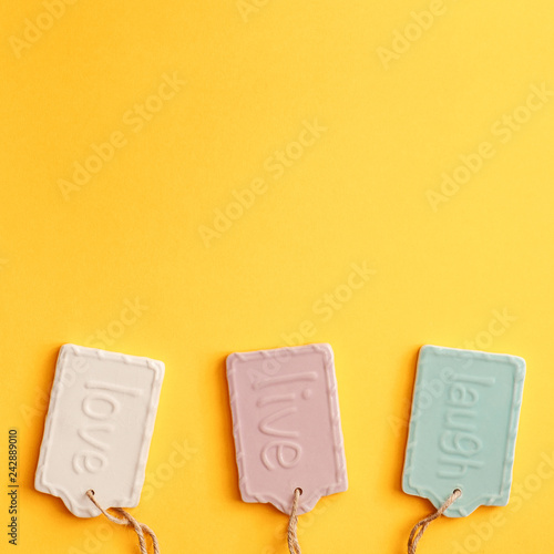 Photo  A blank yellow background with space for text