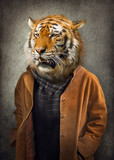 Tiger in clothes. Man with a head of an tiger. Concept graphic in vintage style with soft oil painting style. - 242889275