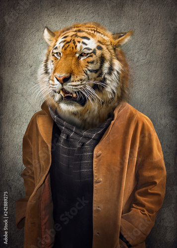 Foto op Canvas Hipster Dieren Tiger in clothes. Man with a head of an tiger. Concept graphic in vintage style with soft oil painting style.