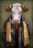 Cow in clothes. Man with a head of an cow. Concept graphic in vintage style with soft oil painting style. - 242889406