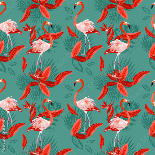 Vector seamless tropical pattern, exotic birds, vivid tropic foliage