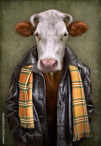 Poster Animaux de Hipster Cow in clothes. Man with a head of an cow. Concept graphic in vintage style with soft oil painting style.