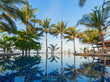 The palm trees from the seashore are reflected in the pool water