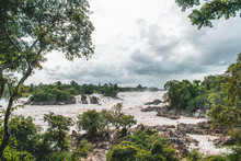 The Khone Phapheng Falls In Loas, The Largest In Southeast Asia, Mekong River
