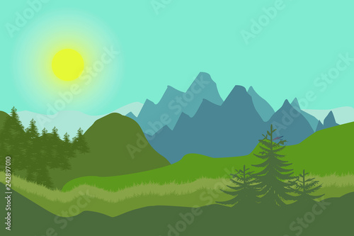 Keuken foto achterwand Groene koraal Nature landscape in flat style. Vector landscape. Mountains. Vector illustration.