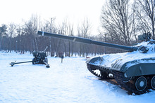 View Of The Tank And Gun Military In The Winter.