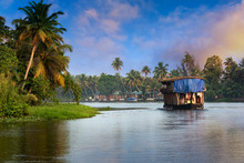 Houseboat In Kerala, India