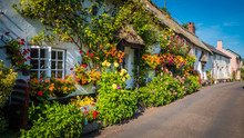 Cute Old English House With A Thatched Roof And Flowers In A Green Hilly Landscape On A Summer Sunny Day With Blue Sky In The UK In A Holiday Dorset Countryside Between Sidmouth And Lyme Regis.