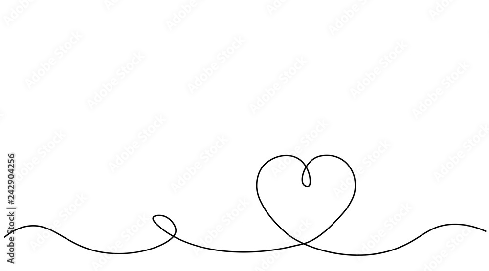 Fototapeta Valentines day background with heart one line, vector illustration.