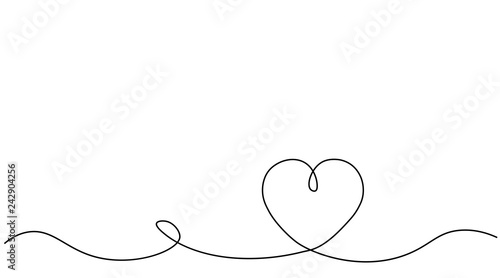 Valentines day background with heart one line, vector illustration.
