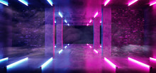 Sci Fi Modern Neon Glowing Background Laser Purple Pink Blue Lights In Grunge Concrete Brick Walls Room Empty For Text Retro Gallery Stage 3D Rendering