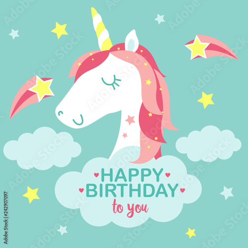 Unicorn Birthday Card Cute Girly Baby Stars Vector Illustration Buy This Stock Vector And Explore Similar Vectors At Adobe Stock Adobe Stock