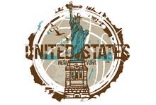 Statue Of Liberty, New York / USA. City Design. Hand Drawn Illustration.