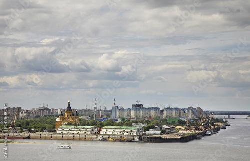 Poster New York Merger of Oka and Volga rivers in Nizhny Novgorod. Russia