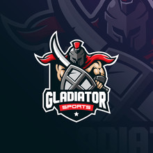 Gladiator Mascot Logo Design Vector With Modern Illustration Concept Style For Badge, Emblem And Tshirt Printing. Spartan Illustration With Sword And Shield.
