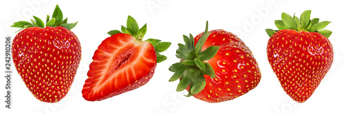 Obraz Fresh strawberry isolated on white background with clipping path - fototapety do salonu