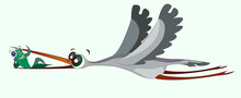 The Stork Carries A Fish In Its Beak. Funny Cartoon Illustration. The Bird Is Flying