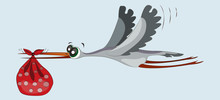 Stork Carries A Child. Funny Cartoon Character. Replenishment In The Family