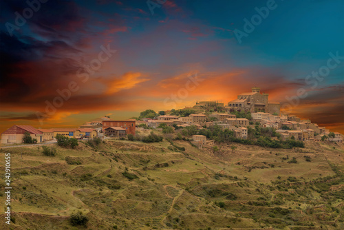 The town of Ujue in Navarra, Spain