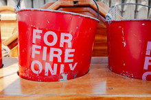 Old And Worn Red Fire Buckets ...