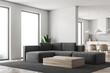 White living room and kitchen corner