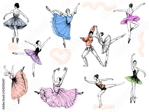Leinwand Poster Big set of hand drawn sketch style abstract ballet dancers isolated on white background