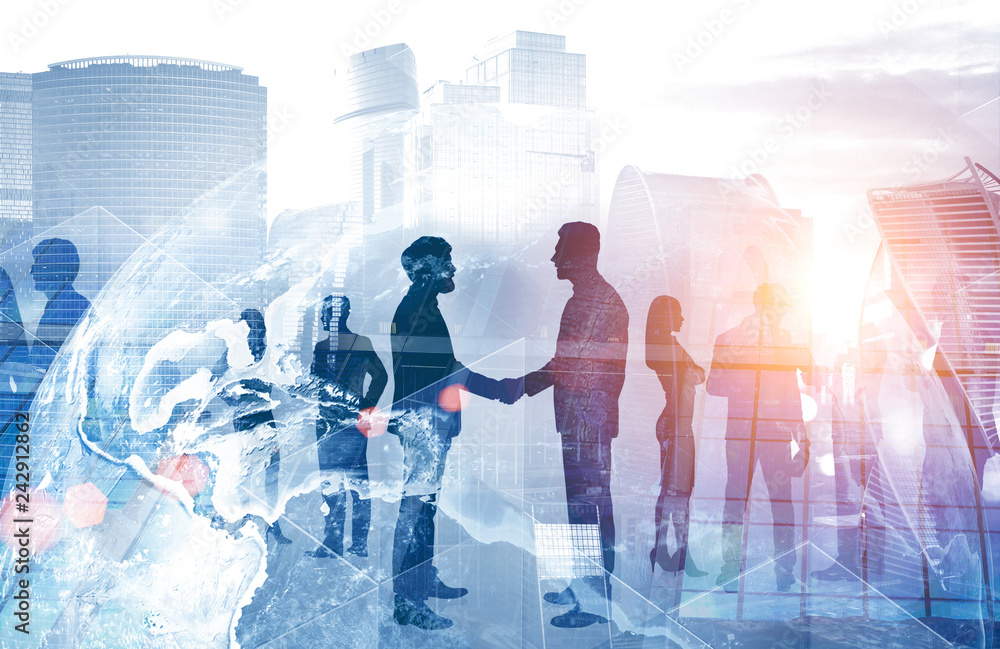 Fototapety, obrazy: People shake hands, international company concept