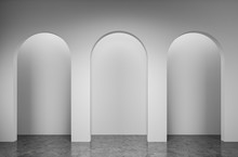 Empty White Room With Arches