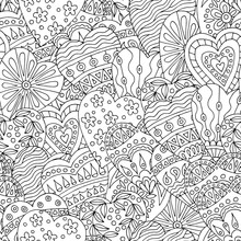 Abstract Seamless U With Hand-drawn Doodles Hearts