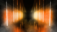 Black Tunnel, Black Gloss, Neon Lamps Hanging From The Ceiling, Reflected In The Walls And Floor. Night View Of The Corridor. Abstract Dark Hall Interior Background. 3D Rendering