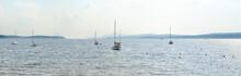 Lake Marina, Boats On Memphremagog Lake At Magog City Qc, Quebec