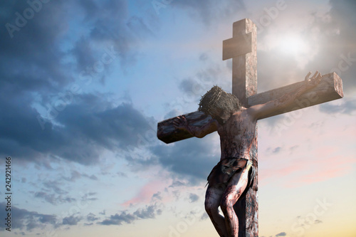 Jesus Christ on the cross, 3d render Fototapeta