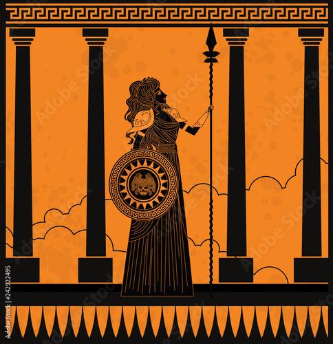 greek orange and black amphora drawing of athena Canvas Print