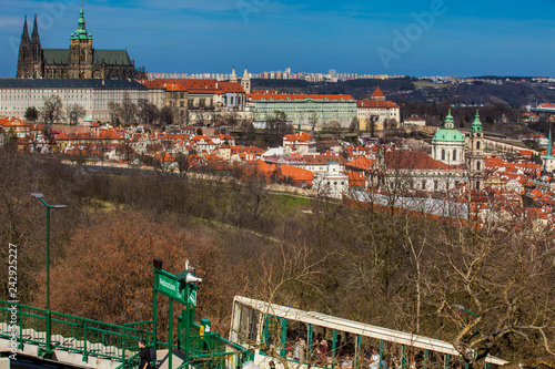 Photo  PRAGUE, CZECH REPUBLIC - APRIL, 2018: Tourists on the Petrin funicular with the